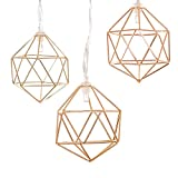 Gold Geometric Metal LED String Lights, 20 LED 9.85FT/3M Fairy String Lights,AA Battery Operated With Remote Control for Home Wedding Party Bedroom Living Room Birthday Decoration (Warm White)