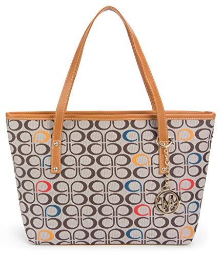 Micom Casual Signature Printing Pu Leather Tote Shoulder Handbag with Metal Decoration for Women (P - Handbag Zippered Tote 20