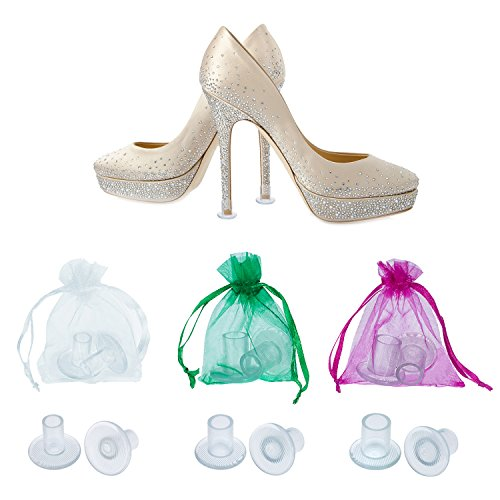 Mtlee 12 Pairs Heel Stoppers High Heel Protectors for Women's Shoes, Small/ Middle/ Large, Transparent