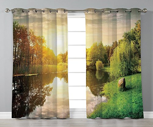 iPrint Stylish Window Curtains,Landscape,Sunset Over Calm River Grass Willow Trees Grass Rocks Reflection Clouds,Green Blue White,2 Panel Set Window Drapes,for Living Room Bedroom Kitchen Cafe -