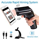 Tera Wireless Barcode Scanner [Premium Version] 1D 2D QR Code Scanner Handheld Laser Bar Code Reader Vibration Alert Support Multi-Language with Stand for Digital Printed Barcodes