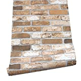 HaokHome H017 Faux Brick Peel Stick Wallpaper Brown Self Adhesive Prepasted Contact Paper Wall Decoration