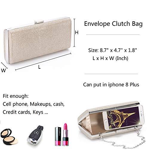 Wedding Handbag with Detachable Chain Clutch Champagne Purse Blukey Evening Case Dazzling Bag Hard ZvxZPzqwY0