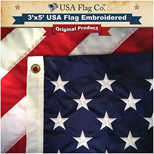 American Flag by USA Flag Co. is 100% American Made: The BEST 3x5 Embroidered Stars and Sewn Stripes, Made in the USA, comes with Amazon A to Z Guarantee. (3 by 5 foot) - Outdoor Flag Kit