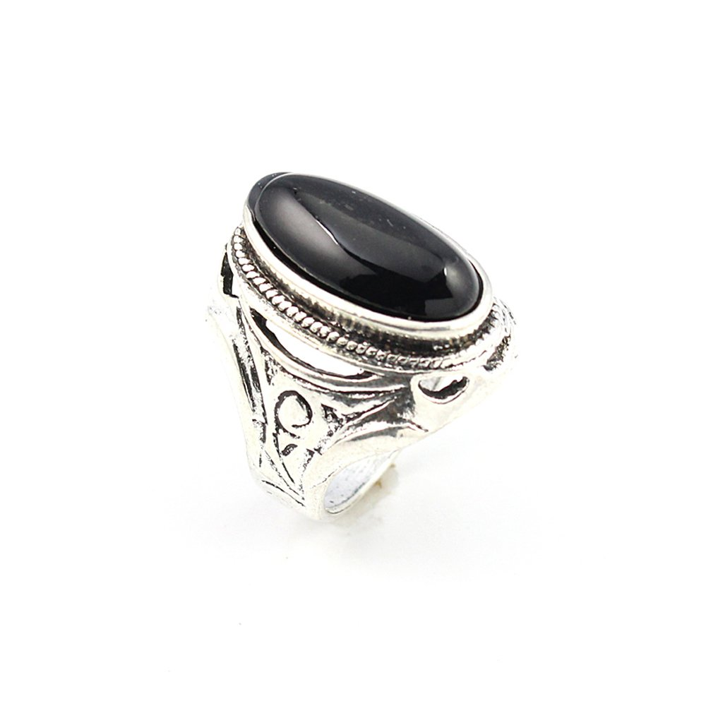 HIGH FINISH BLACK ONYX FASHION JEWELRY .925 SILVER PLATED RING 9 S22946