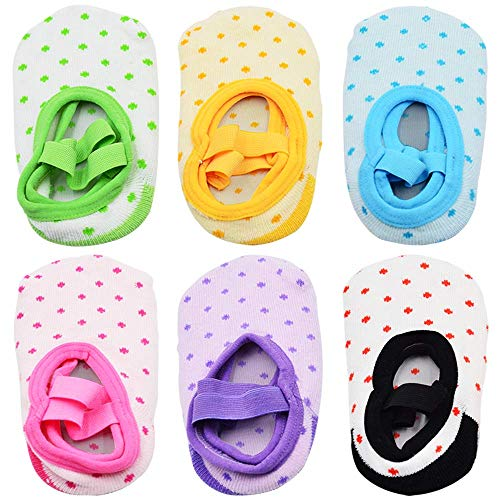 NonSlip Infant Toddler Ballet Style Baby Girl Socks for 9-32 Months, 6 Pairs]()