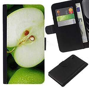 Ihec-Tech / Flip PU Cuero Cover Case para Sony Xperia Z4 - Fruit Macro Green Apple