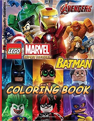 Lego MARVEL AVENGERS & BATMAN Coloring Book: for Kids, for boys & girls