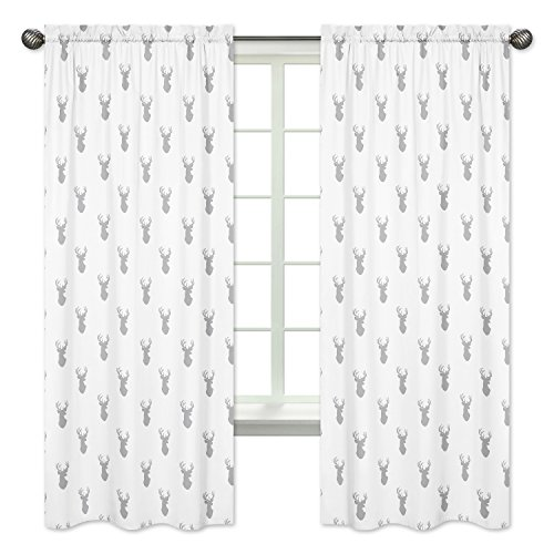 Grey and White Woodland Deer Boys Bedroom Decor Window Treatment Panels - Set of 2 from Sweet Jojo Designs