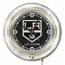 Los Angeles Kings HBS Neon White Hockey Battery Powered Wall Clock (15)