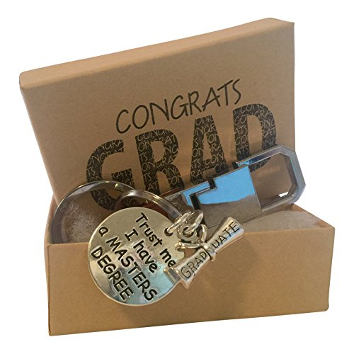 Master Keychain - 'Trust me I have a Masters Degree' Graduation Key Chain with Gift Packaging
