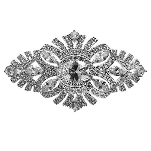 (DREAMLANDSALES Old European Style Filigree Micro Pave and Marquise CZ Art Deco Oval Brooches Pins)