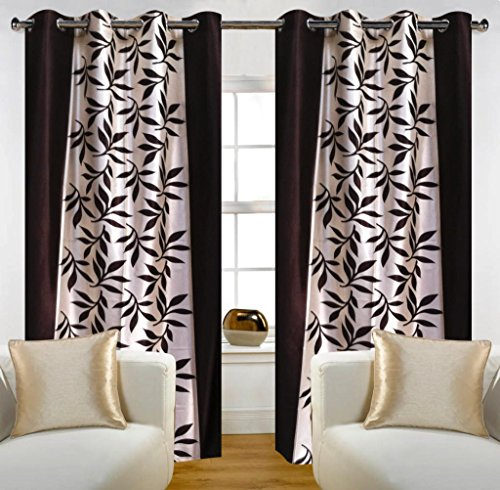 Home Candy Leave 2 Piece Polyester Window Curtain Set – 60″x48, Brown