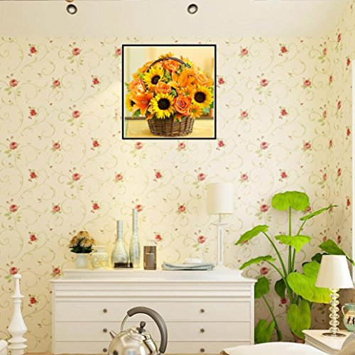 Painting by Number Kit,YOYORI Floral Rhinestone Embroidery Pasted Diy Painting Cross Stitch Kit Drill Arts Craft Wall Sticker (Sunflower Flower Basket) (Butterfly Dreams Flower Girl Basket)