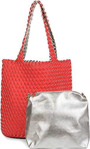 styleBREAKER bolso reversible en óptica trenzada, bolso para compras, set de 2 bolsos de mano, bolso dentro de otro bolso, bolso de hombro, señora 02012182, Color Blanco y negro Rojo/Plata
