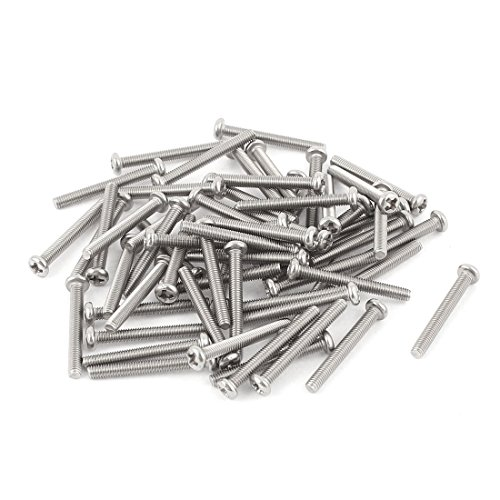 Uxcell a15070200ux0062 M3 x 25mm 304 Stainless Steel Phillips Pan Head Screws Bolt (Pack of 60)