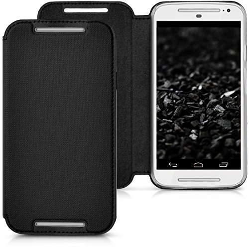 kwmobile Practical and chic FLIP COVER case for Motorola Moto G (2. Gen) in black