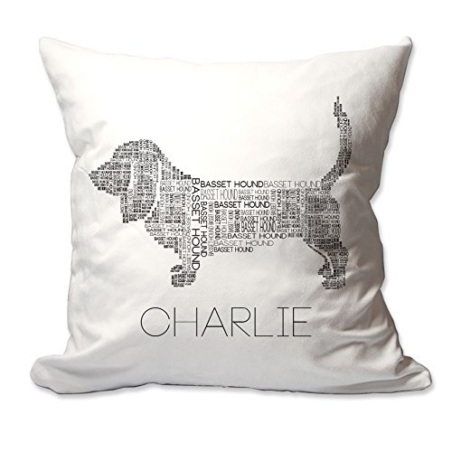 Personalized Basset Hound Word Silhouette Throw Pillow