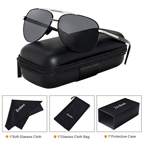 Zealme Polarized Fashion Aviator Anti Glare Pilot Driving Fashion Lightweight Durable Unbreakable Frame Cycling Fishing cycle Hiking Dark Sunglasses for Men Women (black) - Sunglasses Unbreakable Aviator