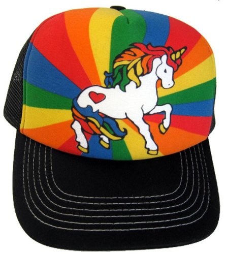 Unicorn Rainbow Black Mesh Trucker Hat Cap (Mesh Rainbow Cap)