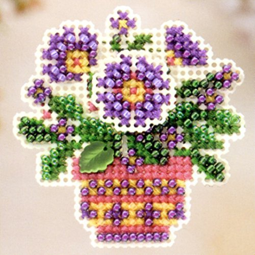 Primrose Pot Beaded Counted Cross Stitch Ornament Kit Mill Hill 2005 Spring Bouquet (2005 Glass Ornament)