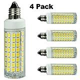 E11 LED Bulb Dimmable, Replace 100-watt or 75-watt ceiling fan halogen bulbs,Daylight 6000K,T4 Mini Candelabra Base Bulb, Chandelier bulb,E11 110V 120V 130V 7.5W LED Energy saving light bulbs [4-Pack]