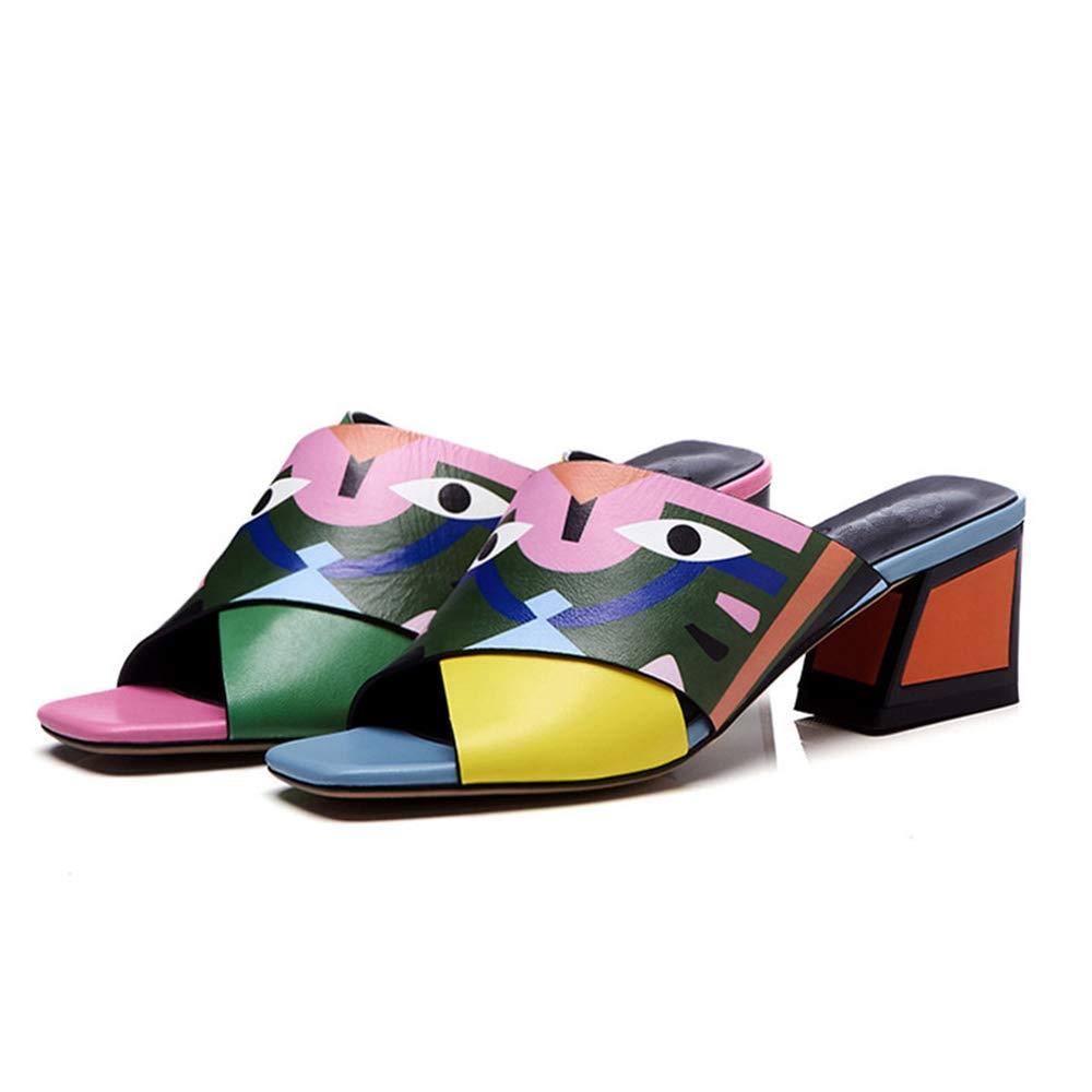 XHHXPY Nouvelles Chaussures Chaussures pour Femmes Croix Monstre Sable Glisser Couleur en Cuir Au Milieu Sandales Femmes Bouche de Poisson Un Mot d'épaisseur,Orange,34