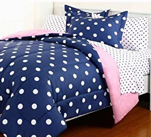 5pc blue pink reversible polka dot college dorm twin xl comforter set 5pc bed in a bag amazon. Black Bedroom Furniture Sets. Home Design Ideas