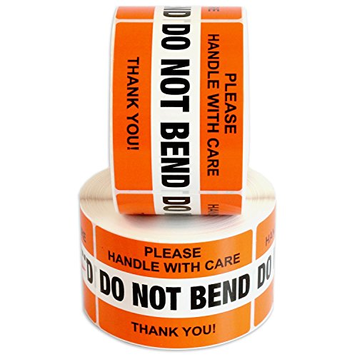DO NOT BEND Please Handle With Care Label Stickers 2 x 3 1000 Labels [2 Rolls x 500] Waterproof, Orange by Milcoast