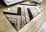 Cheap Gloria Rug Super Soft Living Room Rug 8×10 Stain Resistant Area Rug For Living Room Dining Room or Bedroom – Shaggy Area Rug (8 x 10, Brown Geometric Design 1001)