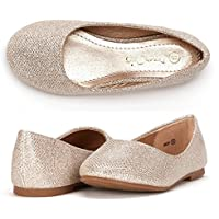 DREAM PAIRS Big Kid Muy Gold Glitter Girl's Mary Jane Ballerina Flat Shoes - 4 M US Big Kid