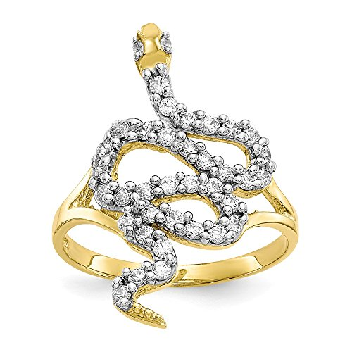 (10k Yellow Gold Cubic Zirconia Cz Snake Band Ring Size 6.00 Animal Fine Jewelry Gifts For Women For Her)