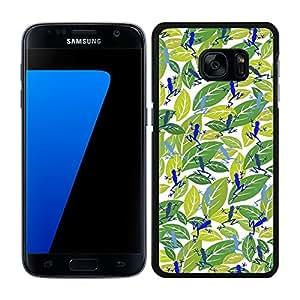 funda carcasa para Samsung Galaxy S7 estampado hojas con ranas azul borde negro