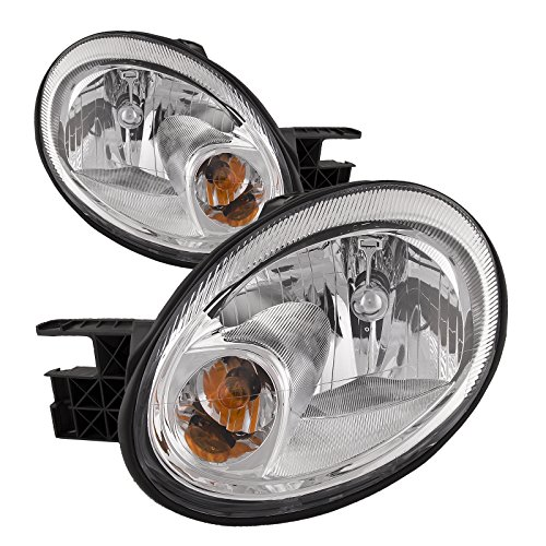 HEADLIGHTSDEPOT Compatible with Dodge Neon headlights SRT All Chrome Headlamps Driver/Passenger Pair New