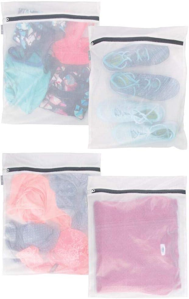 mDesign Juego de 4 bolsas para lavandería con cremallera inoxidable – Bolsas de red grandes para la lavadora – Bolsas para ropa sucia, delicada y calcetines – blanco