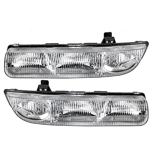 Headlights Headlamps Driver and Passenger Replacement for 96-99 Saturn S-Series Sedan Wagon 21111169 - Sl2 Headlight Saturn Replacement