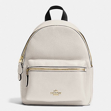 Coach Mini Charlie Pebble Leather Backpack (Chalk)