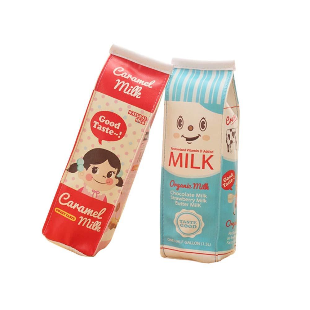 Funny live Creative Milk Cartons Pencil Case Waterproof PU Pen Bag,(Set of 2,Two Bags)