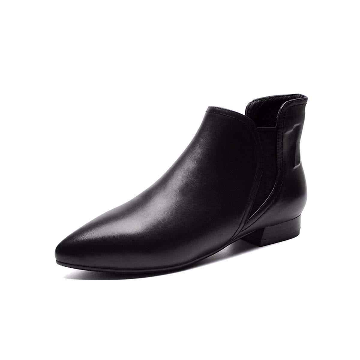 HBDLH Damenschuhe Flache Stiefeletten, Damenschuhe, Eng Mit Flachen Boden, 2 cm, Kurze Stiefel, Frauen - Stiefel, Ma Dingxue