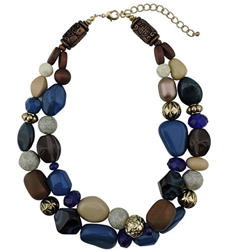 Bocar 2 Layer Statement Chunky Beaded Fashion Necklace for Women Gifts (NK-10384-Strong Blue)