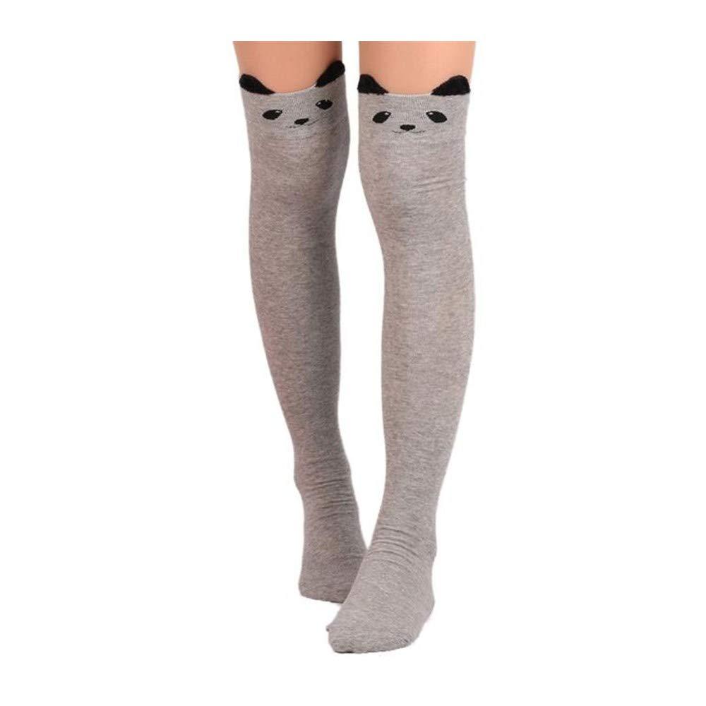 DOGZI Calcetines largos mujer Gato de dibujos animados Calcetines Calcetines largos Sobre la rodilla High Sock medias negras deporte calcetín ...