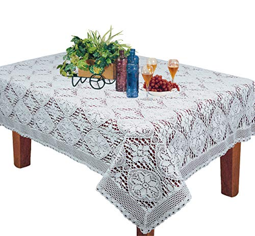 """Crochet Lace Tablecloth 60x104"""" Rectangular Knitted Table Cloth White Cotton by Creative Linens"""