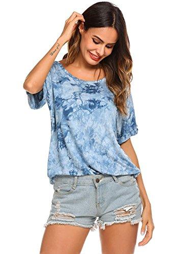 Kecooi Women's Casual Silk Tie Dye Irregular T-Shirt O-Neck Blouse Ptinted Short Sleeve Tops