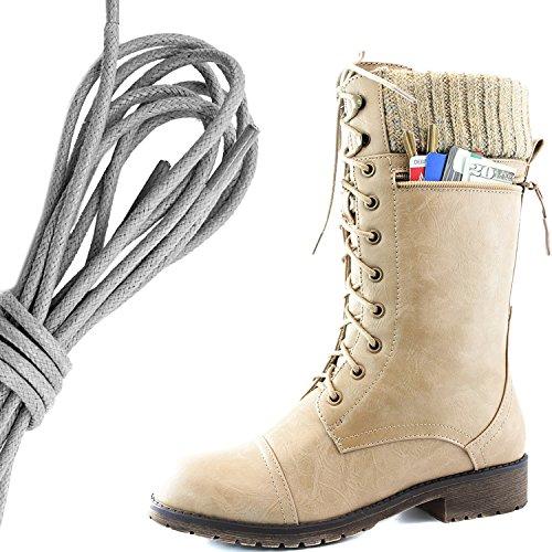 Dailyshoes Womens Bekämpa Stil Snörning Fotled Toffeln Rund Tå Militära Sticka Kreditkorts Kniv Pengar Plånbok Ficka Stövlar, Grå Beige Pu