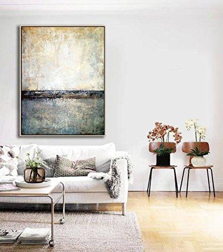 Amazon.com: Beige Art Abstract | Oversize Wall Art Canvas ...