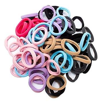 Amazon.com   Jaciya 100 Pack No-damage Elastic HairBand Rope Tiny Ponytail  Holder Mixed Colors Headband Accessories 4ca547bdc6d