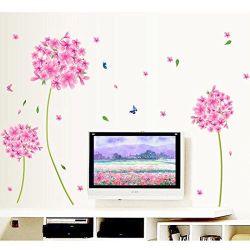 Wall sticker butterflies pink flowers nursery baby room for Red flower wallpaper living room