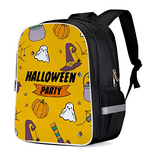 Unisex Durable School Backpack- Halloween Party Witch Hat and Pumpkin, Lightweight Oxford Fabric School Bags with Reflective Strip Daypack Laptop Bags -