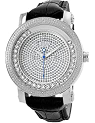 JBW Mens JB-6211L-G Hendrix Stainless Steel Multi-Function Leather Diamond Watch