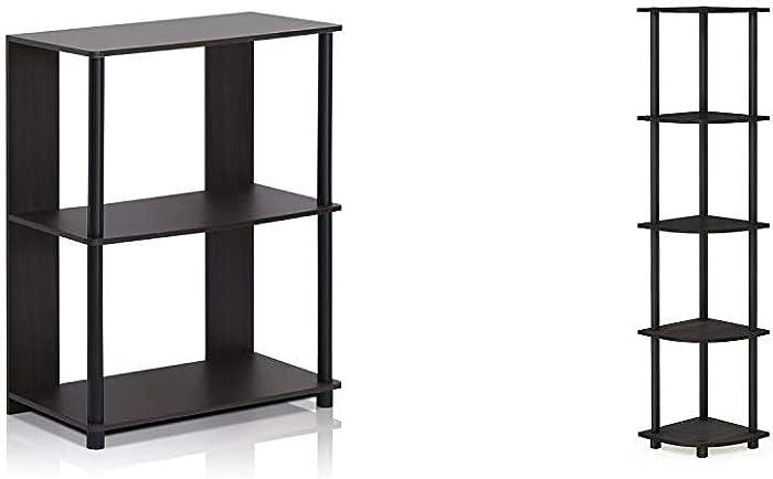 FURINNO Jaya Simple Design Bookcase, Walnut & Turn-N-Tube 5 Tier Corner Shelf, Espresso/Black